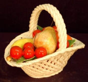 Fabulous Hand Made Porcelain Assorted 22.9cm Fruit Basket With Handle