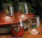 Songbirds & Grapes Stemless Wine Glasses by Rosemary Millette