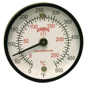 Winters TMT Series Steel Dual scale Surface Magnet Thermometer, 5.1cm Dial Display, +/-2% Accuracy, 0-500 F/C Range