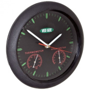 VeeGee Wall-Mount Thermometer-Hygrometer-Clock, Glass Face, 9-1.9cm Diameter, -20 - 140 Degrees F