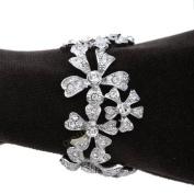 L'Objet Platinum Garland Napkin Rings, White. Crystals Set/4