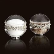 L'Objet Platinum Garland Salt & Pepper Shakers. Crystals - White