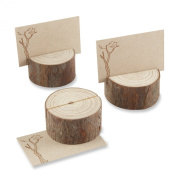 Kate Aspen 4 Count Wood Place Card/Photo Holder, Rustic Real