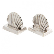 Grehom Place Card Holder (Set of 4) - Sea Shell; Beautiful Gift, Silver finish, Name Tag Holder