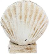 HomArt Cast Iron Decorative Placecard Holder, Scallop Seashell White