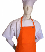 CHEFSKIN ADULT APRON ORANGE, ULTRA LIGHTWEIGHT COOL & FRESH, VERY COMFORTABLE, centre POCKET AND LONG TIES, WONT FADE WONT SHRINK, EASY TO WEAR