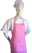 CHEFSKIN ADULT APRON PINK, ULTRA LIGHTWEIGHT COOL & FRESH, VERY COMFORTABLE, centre POCKET AND LONG TIES, WONT FADE WONT SHRINK, EASY TO WEAR