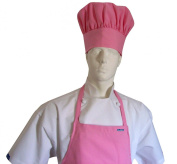 CHEFSKIN ADULT SET APRON + HAT PINK, ULTRA LIGHTWEIGHT COOL & FRESH, VERY COMFORTABLE, centre POCKET AND LONG TIES, WONT FADE WONT SHRINK, HAT IS hook and loop ADJUSTABLE LINED, EASY TO WEAR