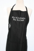 "Black Embroidered Apron ""My Kitchen, My Rules"""