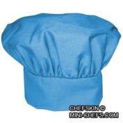 CHEFSKIN CHEF MUSHROOM HAT ADULTS _ BABY BLUE _ ADJUSTABLE hook and loop NICE TWILL FABRIC TOP QUALITY HAT, DELIVERED IN 2-3 DAYS