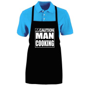 """Funny """"CAUTION - MAN COOKING"""" Apron; One Size Fits Most - Medium Length Kitchen Aprons for Men, Women, Teen, & Kids (Unisex); Soft Cotton Polyester Mix with DuPont Teflon Fabric Protector. Great gift idea."""