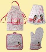 Betty Boop 4 Pcs Kitchen Linens Set, Apron, Towel, Mitt and Pot Holder
