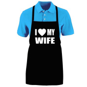 """Funny """"I LOVE (HEART) MY WIFE"""" Apron; One Size Fits Most - Medium Length Kitchen Aprons for Men, Women, Teen, & Kids (Unisex); Soft Cotton Polyester Mix with DuPont Teflon Fabric Protector. Great gift idea."""
