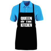 """Funny """"QUEEN OF THE KITCHEN"""" Apron; One Size Fits Most - Medium Length Kitchen Aprons for Men, Women, Teen, & Kids (Unisex); Soft Cotton Polyester Mix with DuPont Teflon Fabric Protector. Great gift idea."""