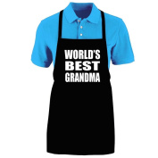 """Funny """"WORLD'S BEST GRANDMA"""" Apron; One Size Fits Most - Medium Length Kitchen Aprons for Men, Women, Teen, & Kids (Unisex); Soft Cotton Polyester Mix with DuPont Teflon Fabric Protector. Great gift idea."""