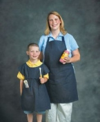 School Smart Heavy Duty Denim Child Apron - 58.4cm x 43.2cm - Blue