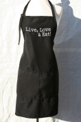 "Black Embroidered Apron ""Live Love & Eat"""