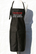 "Black ""Caution, Don't Burn Your Weenie"" Embroidered Apron"