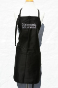 "Black Embroidered Apron ""It's a Comb Not a Wand"""