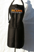 "Black Embroidered Apron ""Real Bears fans love meat"""