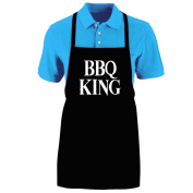 """Funny """"BBQ KING"""" Apron; One Size Fits Most - Medium Length Kitchen Aprons for Men, Women, Teen, & Kids (Unisex); Soft Cotton Polyester Mix with DuPont Teflon Fabric Protector. Great gift idea."""