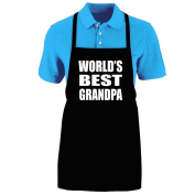 """Funny """"WORLD'S BEST GRANDPA"""" Apron; One Size Fits Most - Medium Length Kitchen Aprons for Men, Women, Teen, & Kids (Unisex); Soft Cotton Polyester Mix with DuPont Teflon Fabric Protector. Great gift idea."""