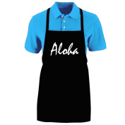 """Funny """"ALOHA"""" Apron; One Size Fits Most - Medium Length Kitchen Aprons for Men, Women, Teen, & Kids (Unisex); Soft Cotton Polyester Mix with DuPont Teflon Fabric Protector. Great gift idea."""