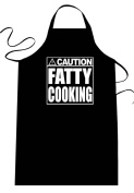 """Funny """"CAUTION - FATTY COOKING"""" Apron; One Size Fits Most - Medium Length Kitchen Aprons for Men, Women, Teen, & Kids (Unisex); Soft Cotton Polyester Mix with DuPont Teflon Fabric Protector. Great gift idea."""