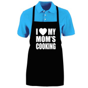 """Funny """"I LOVE (HEART) MY MOM'S COOKING"""" Apron; One Size Fits Most - Medium Length Kitchen Aprons for Men, Women, Teen, & Kids (Unisex); Soft Cotton Polyester Mix with DuPont Teflon Fabric Protector. Great gift idea."""