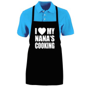 """Funny """"I LOVE (HEART) MY NANA'S COOKING"""" Apron; One Size Fits Most - Medium Length Kitchen Aprons for Men, Women, Teen, & Kids (Unisex); Soft Cotton Polyester Mix with DuPont Teflon Fabric Protector. Great gift idea."""