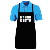 """Funny """"MY GRILL IS HOTTER"""" Apron; One Size Fits Most - Medium Length Kitchen Aprons for Men, Women, Teen, & Kids (Unisex); Soft Cotton Polyester Mix with DuPont Teflon Fabric Protector. Great gift idea."""