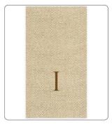 Caspari Entertaining with Caspari Jute Herringbone Paper Linen Monogram Initial I Guest Towels, Pack of 24