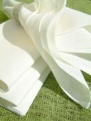 Set of 12 Napkins White Cotton Linen Lucia