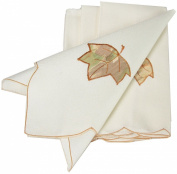 Xia Home Fashions Harvest Leaf Embroidered Cutwork Harvest 53.3cm Square Napkin