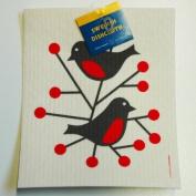 Swedish Dishcloth - Birds Red - Domherre