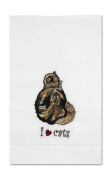 Rescue Me Now Tortoise Shell Cat Tea Towel, 27.9cm by 17.8cm , Embroidered