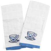 Tea Cup Embroidered Terry Kitchen Towel - Set of 2