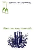Friends and Wine Italian Proverb Dish Towel