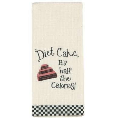 Diet Cake, It's half the Calories! Embroidered Waffle Weave Kitchen Towels - Girlfriends Collection