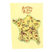 Souvenirs of France - 'Wines and Cheeses of France' Dish Towel - Colour : Beige
