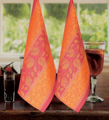 Armani International Kitchen Towels (Pack-2) Foglio in Orange-Gold