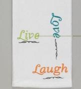 Embroidered Live Love Laugh White Kitchen Dish Towel Split P