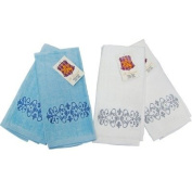 Embroidery Guest Towel in Blue / White