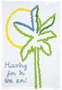 Fun in the Sun Palm Tree Print Waffle Weave Dish Towel