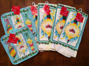Joy to the World Set of Six Kitchen Dish Towels and Pot Holders