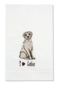 Rescue Me Now Yellow Labrador Tea Towel, 27.9cm by 17.8cm , Embroidered