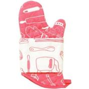 Retro Kitchen Mitts & Tea Towel Set - Azalea