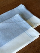 Set of 2 Blue Cinque Linen Cotton Kitchen Towels Florence