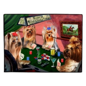 Home of Yorkshire Terriers 4 Dogs Playing Poker Floormat 45.7cm x 61cm