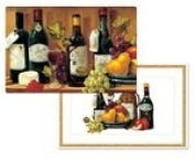 Wine Country Grapes Washable Plastic Vinyl Reversible Placemats Set of Four